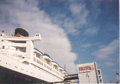 A long shot taken of most of the Queen Mary which is now a hotel, and a good place to stay