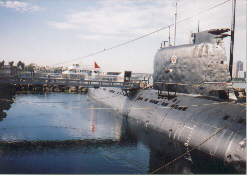 Soviet Submarine Scorpion 641 moored with the Queen Mary