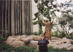 Here I am at Dr. Bob Schuller's Crystal Cathedral standing in front of Moses, coming down from the mountain with the 10 Commandments.  Although you can't see it, to my right, your left, is the burning bush